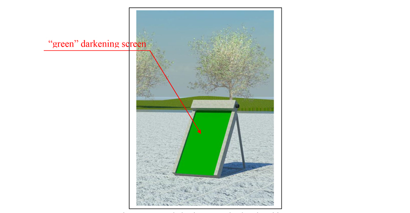 Figure 1: green darkening screen in closed position