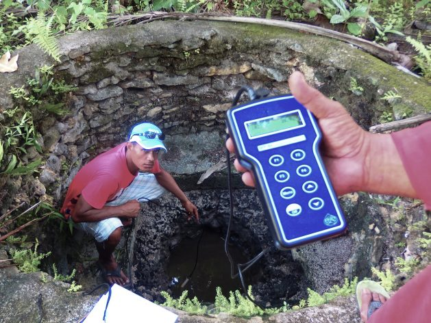 Technical experts measure the salinity of groundwater wells on Vaitupu Island, Tuvalu. This month work will begin on building the network of tanks and pipes which will eventually convey clean water from the north of Vaitupu Island to the 1,500 people who live in the villages of Tumaseu and Asau in the south. Courtesy: Pacific Community