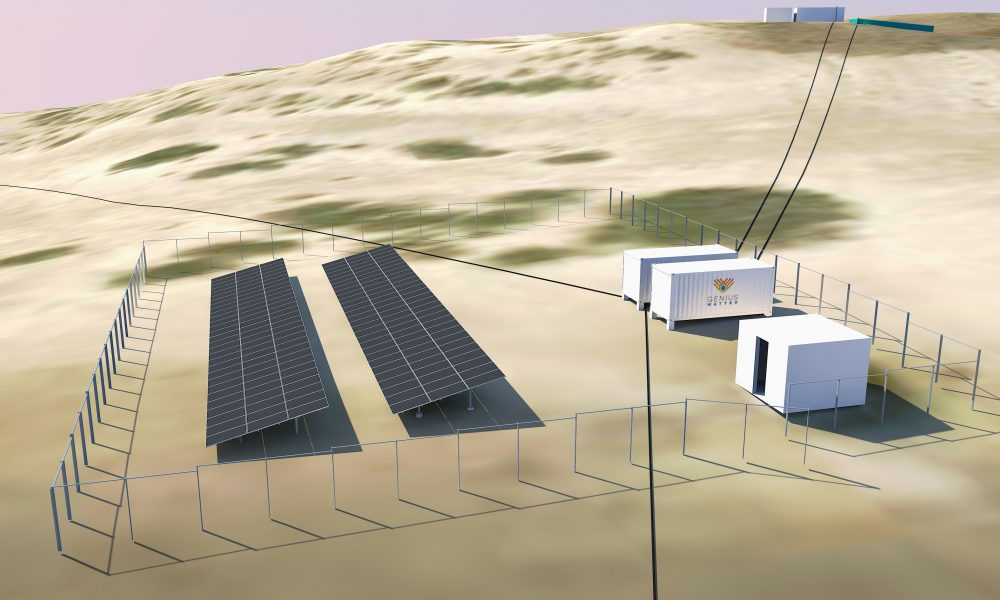 Project 3D render, including containers for the RO unit and water treatment, the solar PV plant and the water tanks.