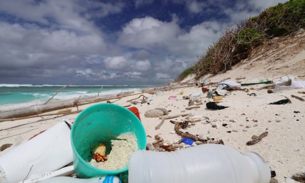 Plastic debris is heating up beaches in the Cocos (Keeling) Islands. A study has warned that rising temperatures caused by plastic could have devastating impacts on wildlife. Photograph: Andrew Fidler/Silke Stuckenbrock